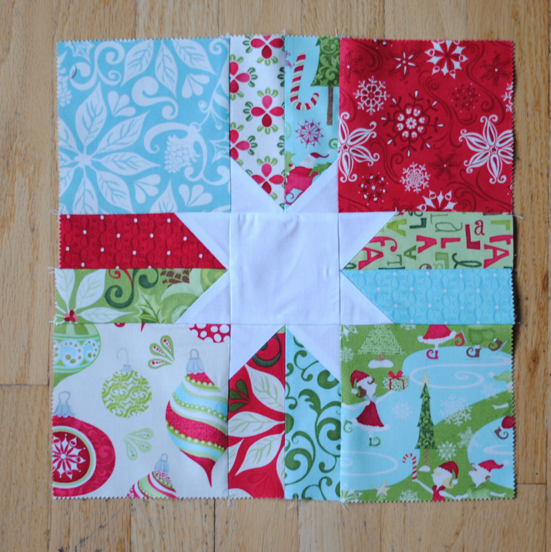 Clover Amp Violet Scrappy Christmas Star Quilt Block