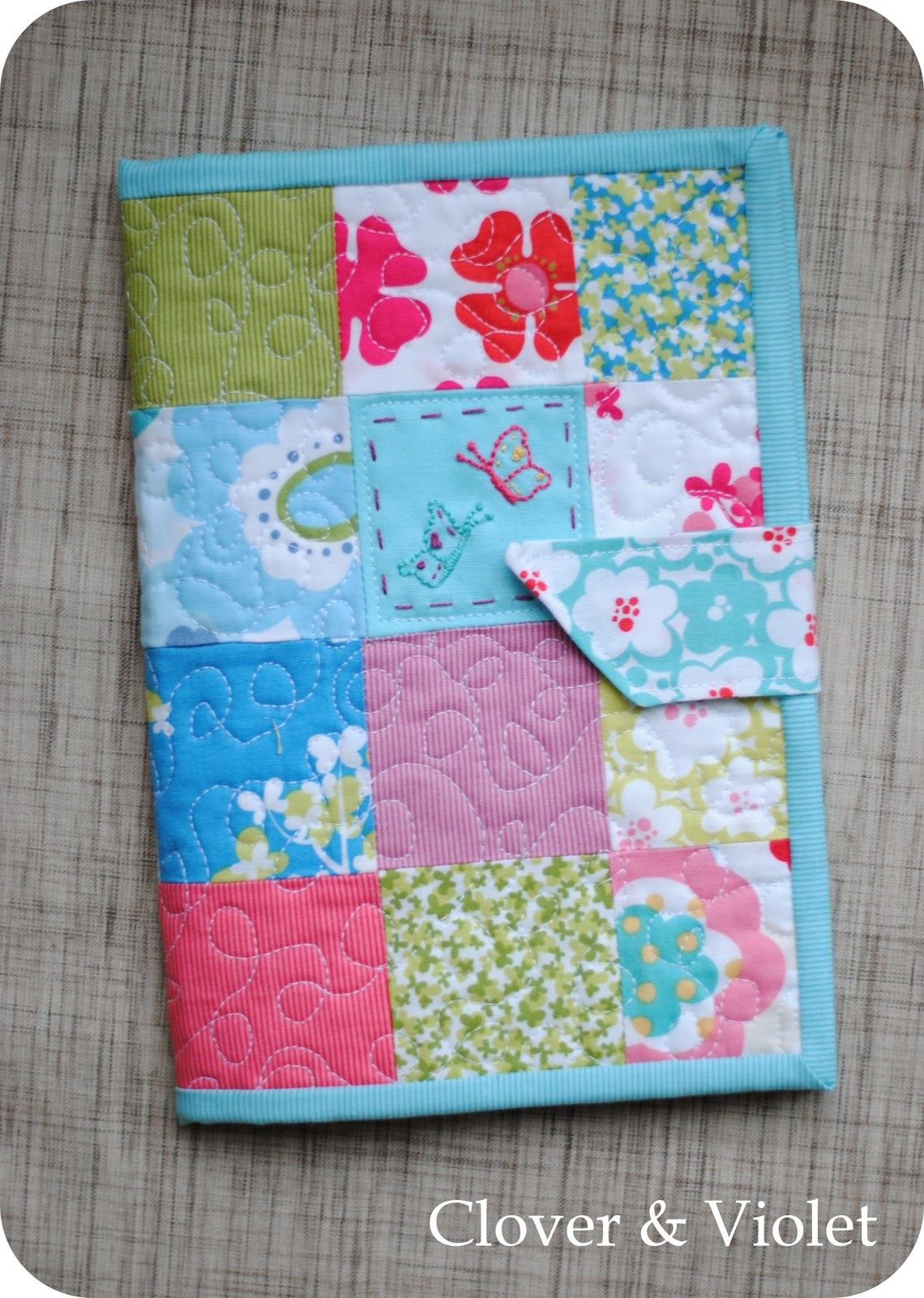 Quilted Book Cover Pattern Free : Clover violet — kindle keyborad book style cover