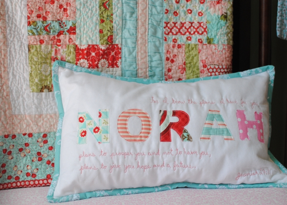 Appique Name Pillow with Verse