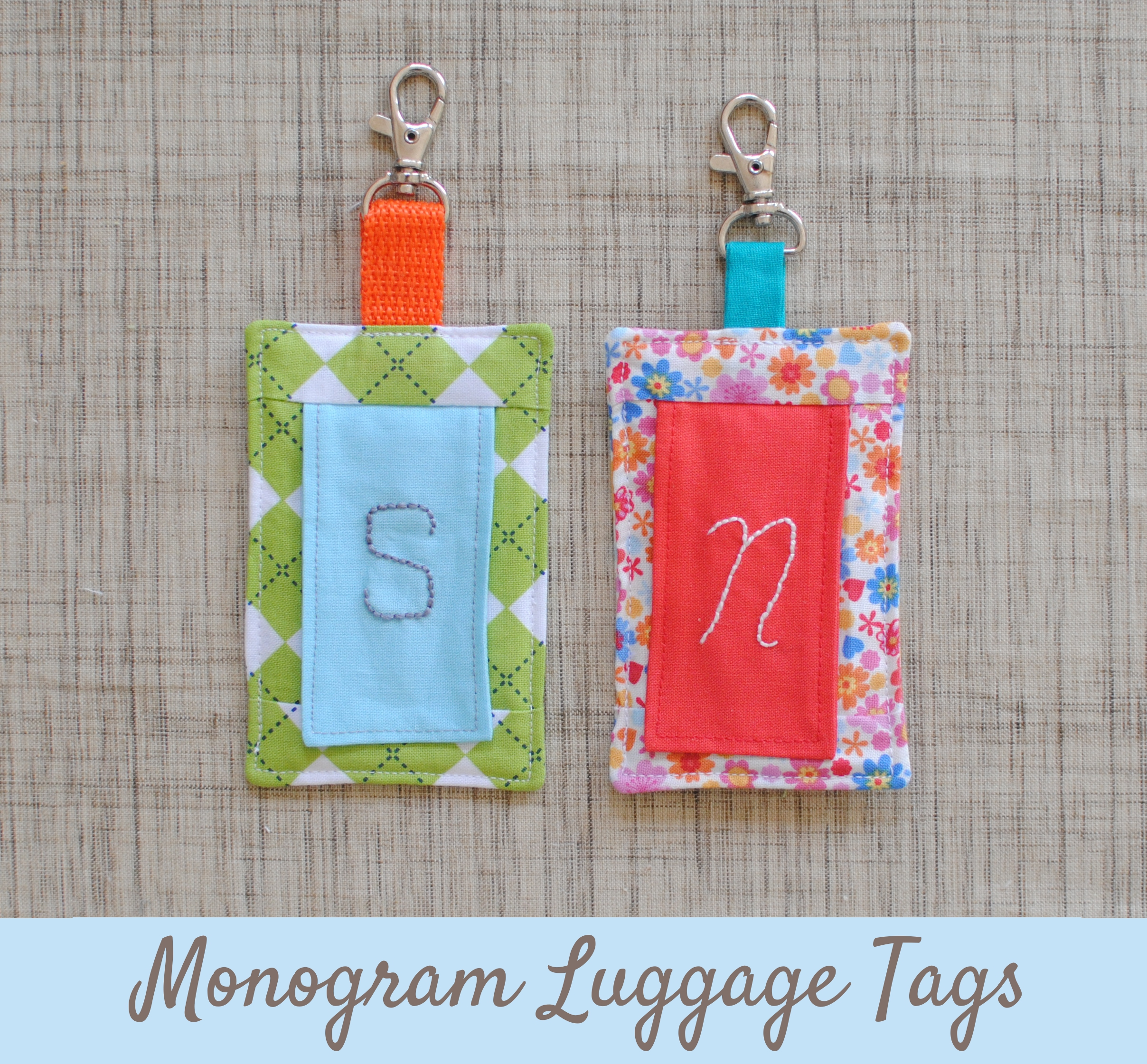 Clover & Violet — Embroidered Monogram Luggage Tags {Tutorial}