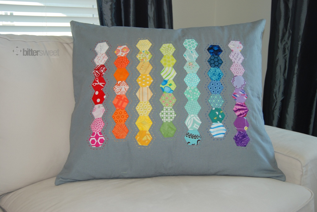 Rainbow Hexie Pillow