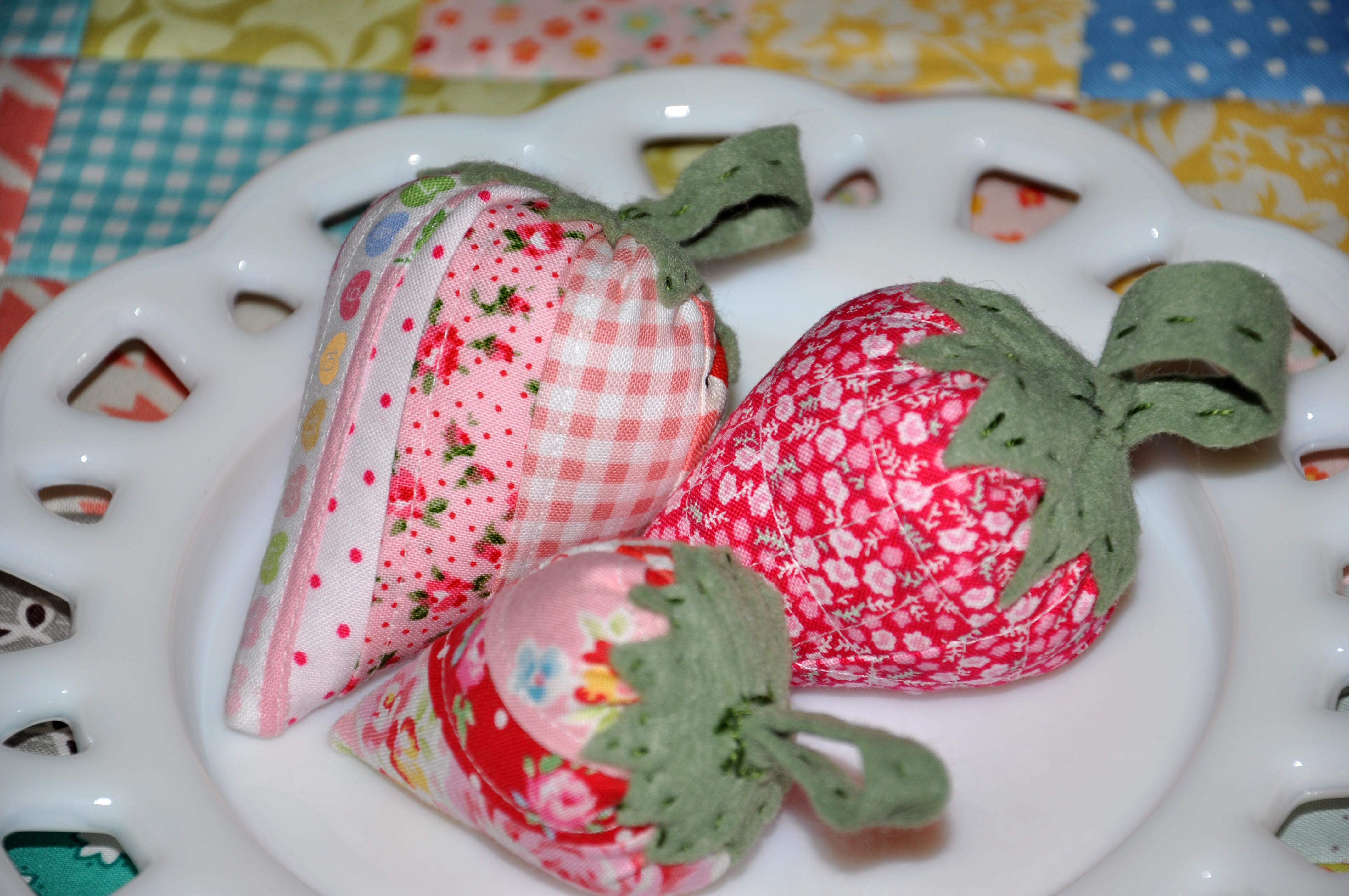 A Strawberry Pincushion Swap & Pillowcases