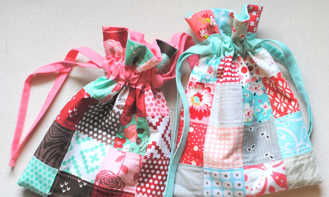 Last-Minute Gift Tutorial: Patchwork French Seam Drawstring Bag